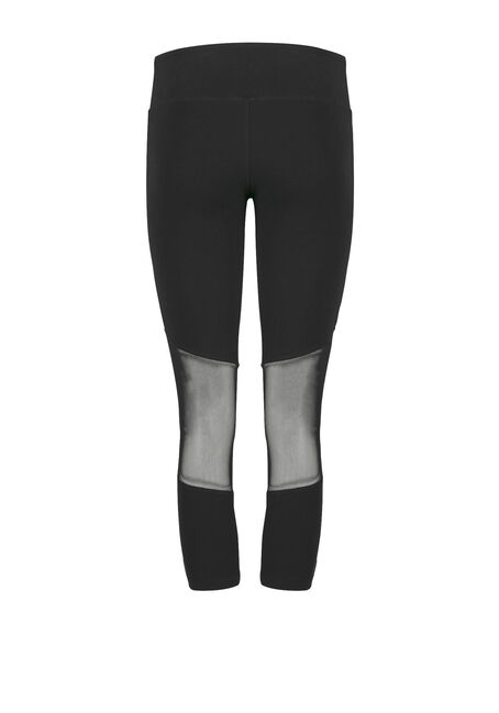Women's Mesh Insert Capri Legging, BLACK, hi-res