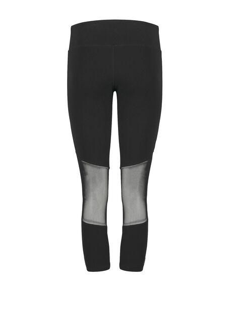 Women's Mesh Insert Capri Legging, BLACK, hi-res
