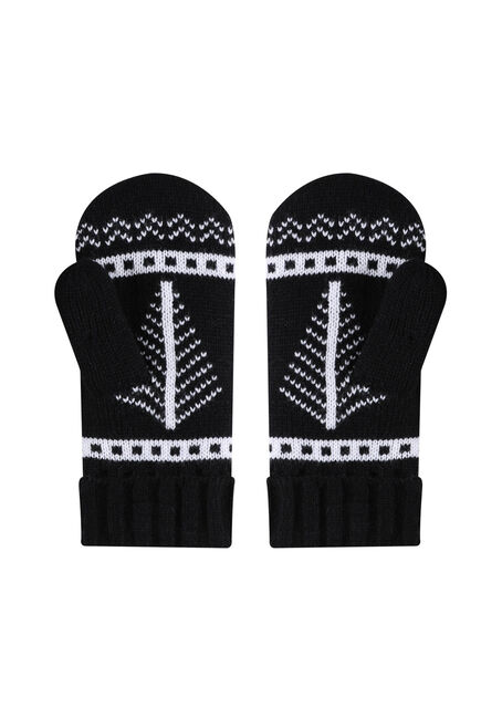 Ladies' Nordic Snowflake Mitts, BLACK, hi-res