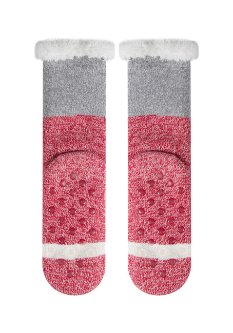 Ladies' Santa Slipper Socks, RED, hi-res