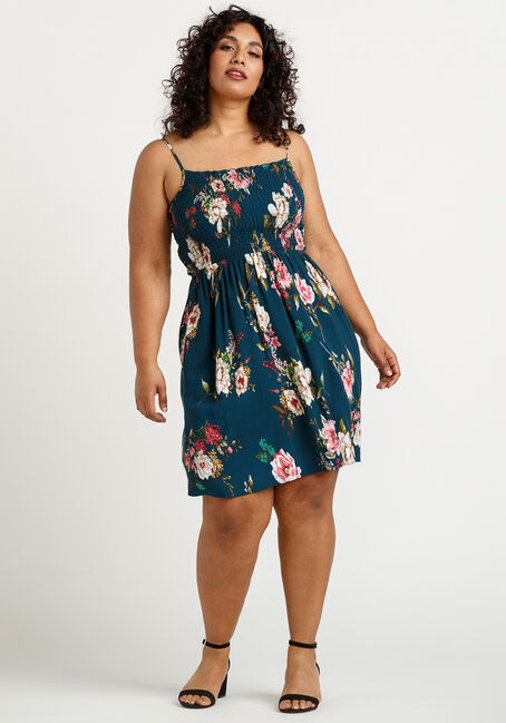 Women's Floral Smocked Dress, TEAL, hi-res