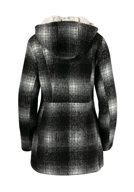 Ladies' Hooded Plaid Jacket, BLK/WHT, hi-res