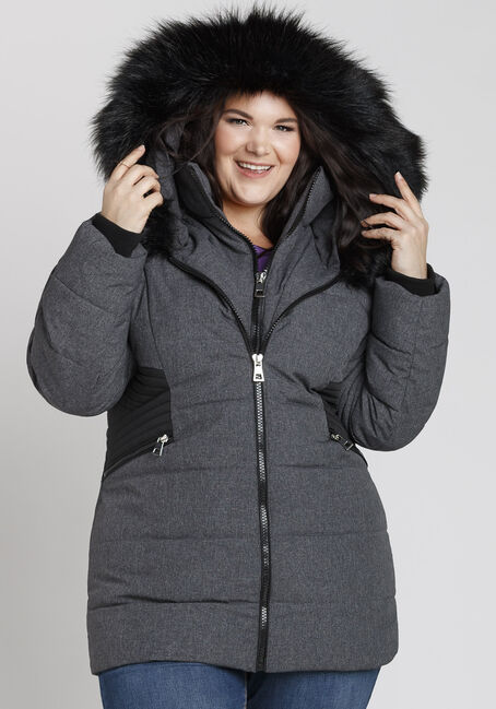 Ladies' Plus Size Quilted Parka, CHARCOAL, hi-res