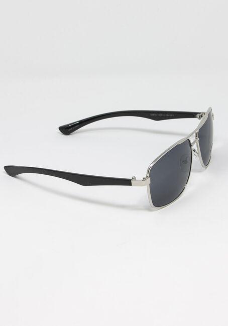 Men's Square Metal Sunglasses, SILVER, hi-res