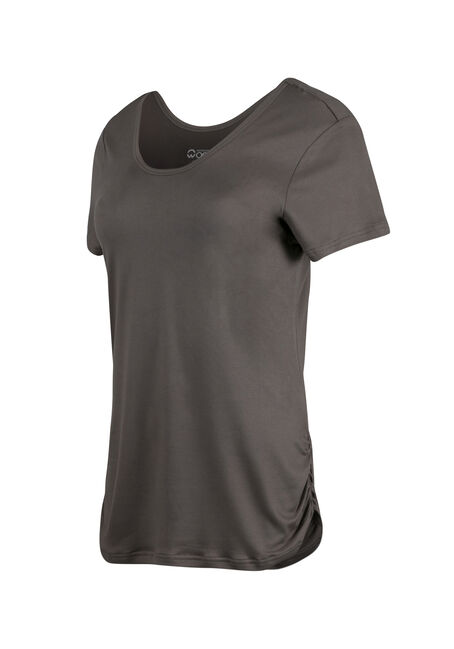 Ladies' Scoop Neck Ruched Side Tee, BASIL, hi-res