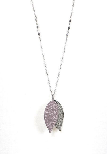 Women's Filigree Leaf Necklace, RHODIUM, hi-res