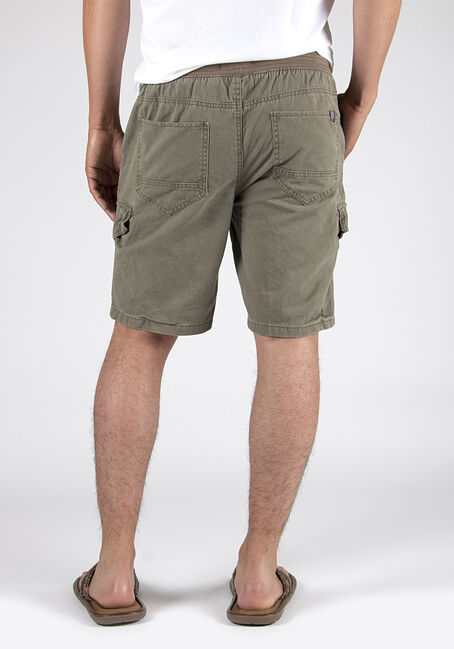 Men's Pull On Washed Twill Cargo Short, LIGHT OLIVE, hi-res