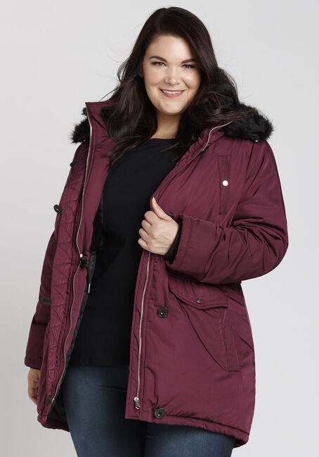 Ladies' Plus Size Fur Trim Parka, BURGUNDY, hi-res
