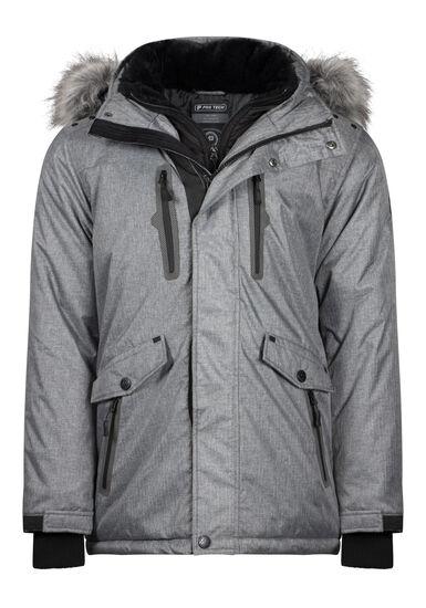 Men's Fur Trim Parka, CHARCOAL, hi-res