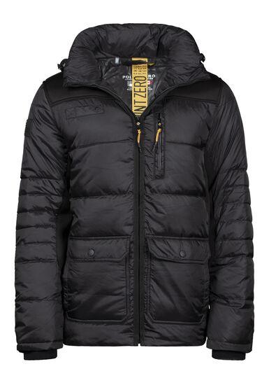 Men's Quilted Puffer Jacket, BLACK, hi-res