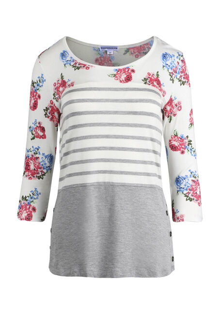Women's Stripe Floral Colour Block Top