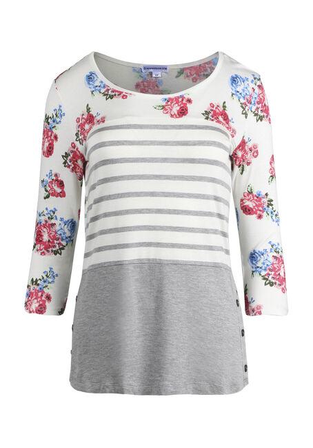 Women's Stripe Floral Colour Block Top