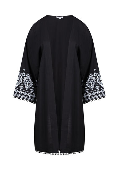 Women's Embroidered Kimono, BLACK, hi-res