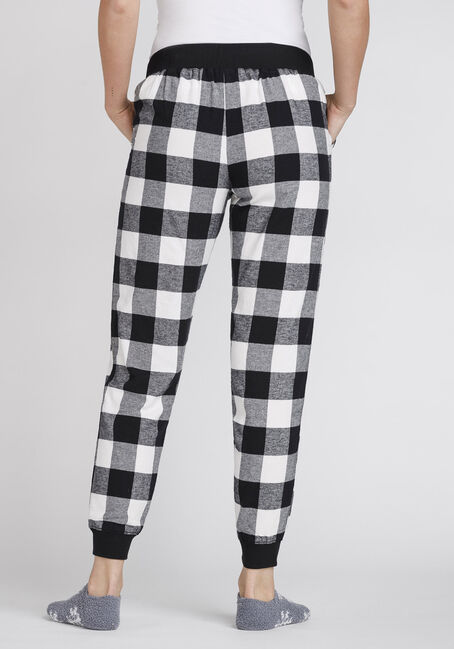 Women's Plush Buffalo Plaid Jogger, BLK/WHT, hi-res