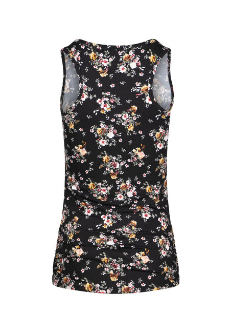 Women's Ditsy Floral Super Soft Tank, BLACK COMBO, hi-res