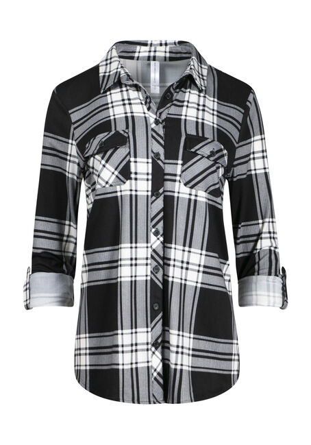 Women's Black White Knit Plaid Shirt