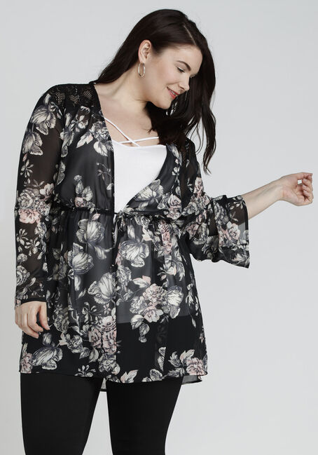 Ladies' Tie Front Floral Kimono, BLACK, hi-res