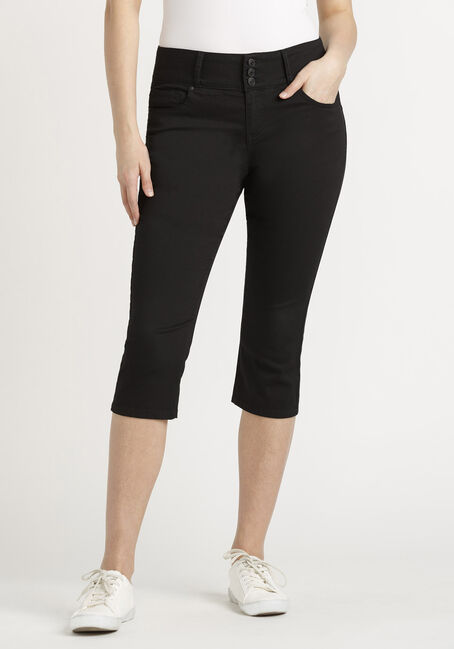 Women's 3 Button Black Skinny Capri