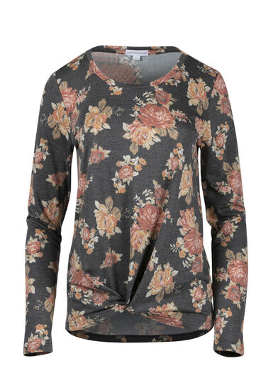 Women's Floral Knot Front Top, CHARCOAL, hi-res