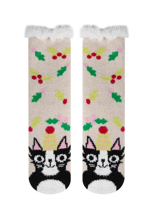 Ladies'  Cat Slipper Socks, BLACK, hi-res