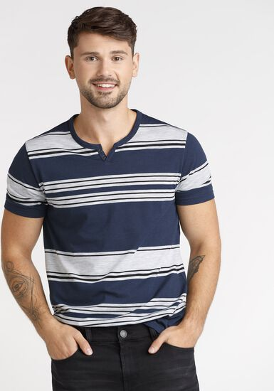 Men's Everday Stripe Notch Neck Tee, NAVY, hi-res