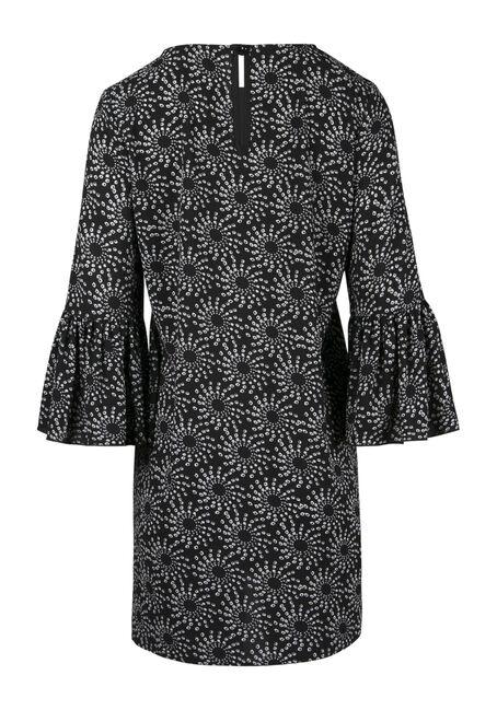 Ladies' Geo Print Bell Sleeve Dress, BLK/WHT, hi-res