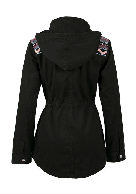Ladies' Hooded Anorak Jacket, BLACK, hi-res