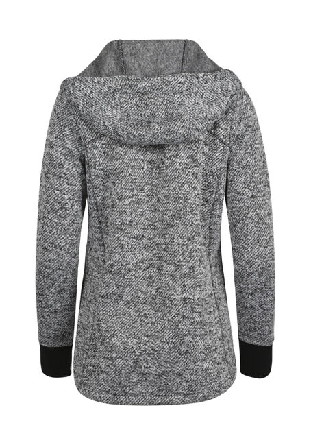 Ladies' Textured Zip Hoodie, BLK/WHT, hi-res