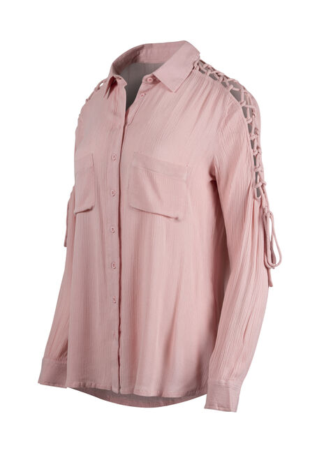 Women's Lace Up Sleeve Shirt, ROSE QUARTZ, hi-res
