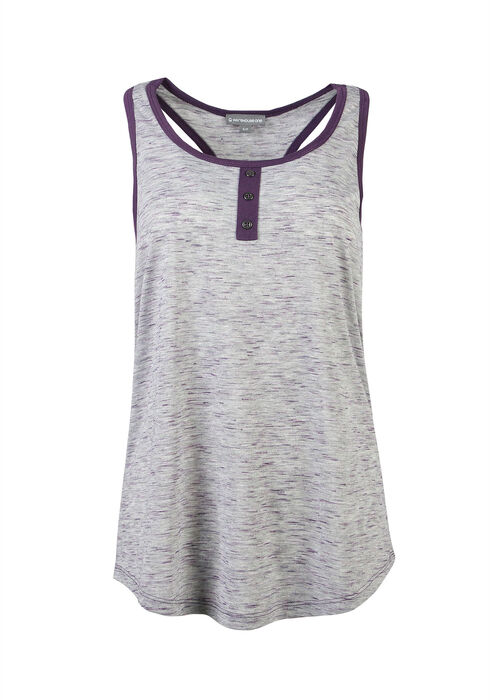Ladies' Henley Racerback Tank, H.GREY/POWER PURPLE, hi-res