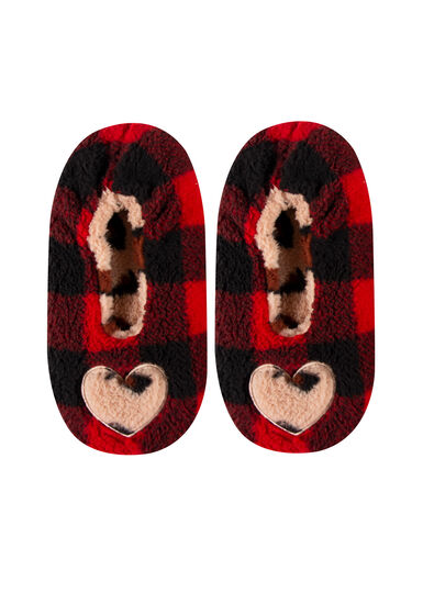 Women's Cozy Leopard Heart Slippers, RED, hi-res