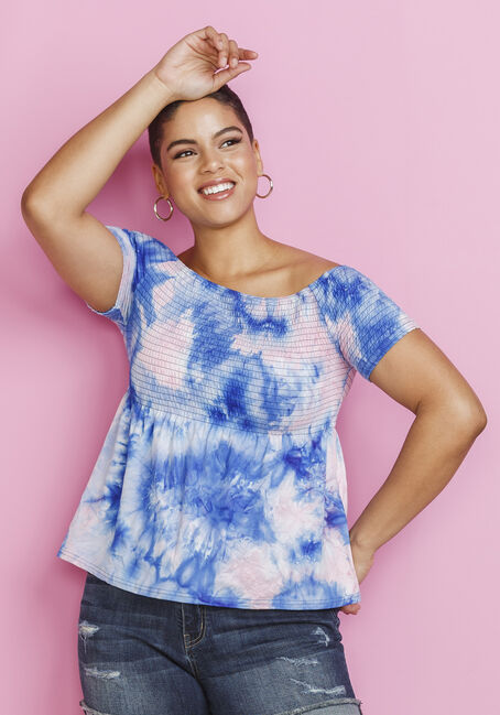 Women's Tie-Dye Bardot Top, BLUE, hi-res