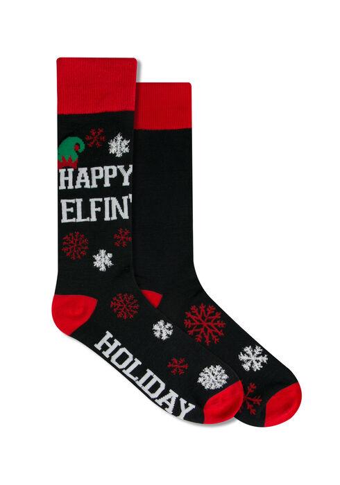 Men's Happy Elfin' Holiday Socks, BLACK, hi-res