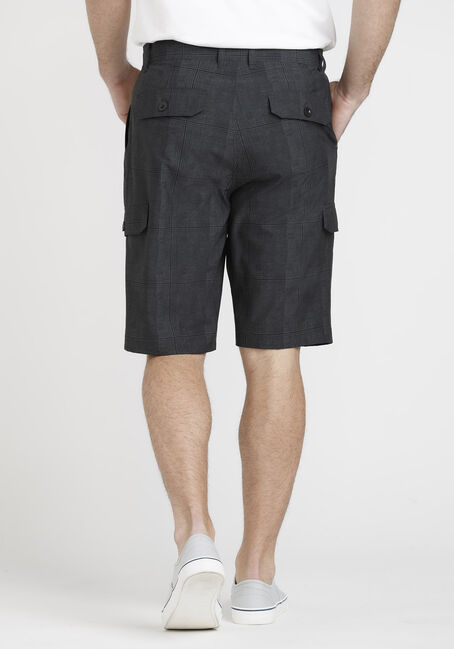 Men's Black Plaid Cargo Hybrid Shorts, BLACK, hi-res