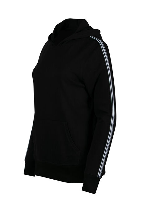 Ladies' Stripe Sleeve Hoodie, BLACK, hi-res