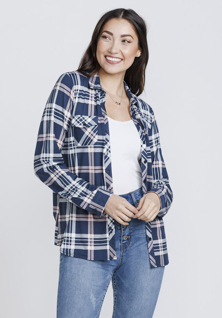 Women's Knit Plaid Shirt, NAVY/PINK, hi-res