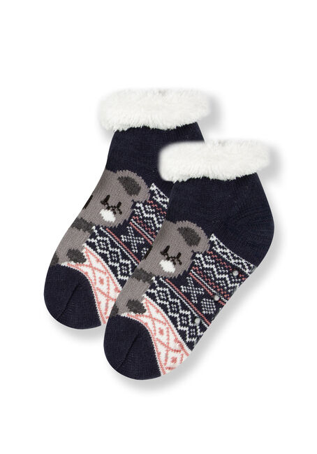 Women's Koala Slipper Socks, NAVY, hi-res