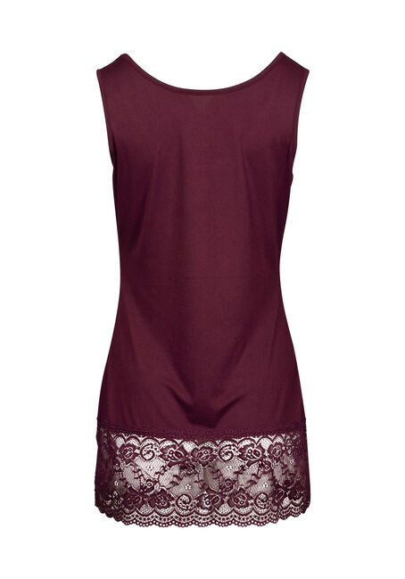Women's Lace Trim Tunic Tank, BURGUNDY, hi-res