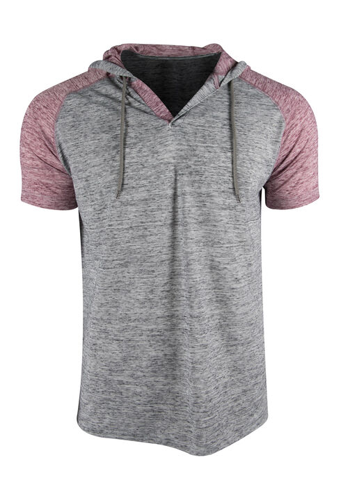 Men's Hooded Raglan Tee, CHARCOAL, hi-res