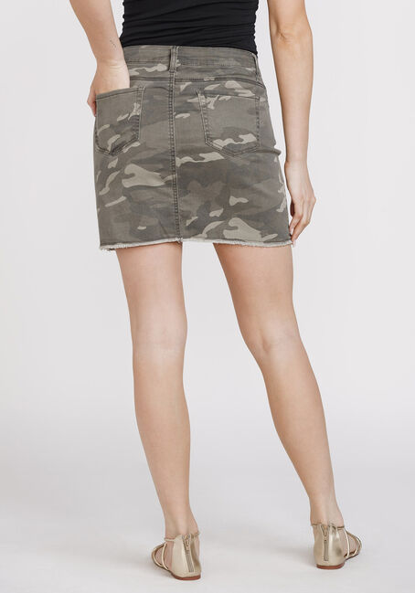 Women's Camo Print Frayed Hem Skirt, DARK OLIVE, hi-res