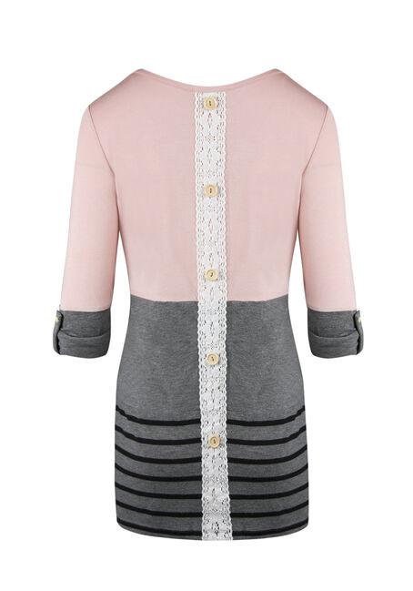 Ladies' Colour Block Stripe Top, PEACH, hi-res