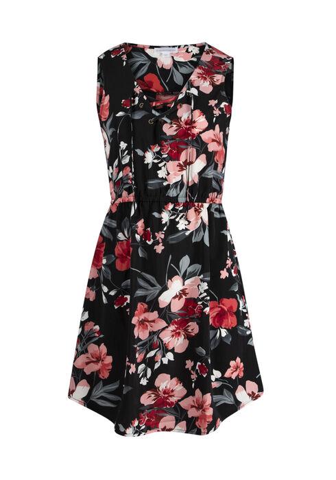 Women's Floral Lace Up Dress, BLACK, hi-res