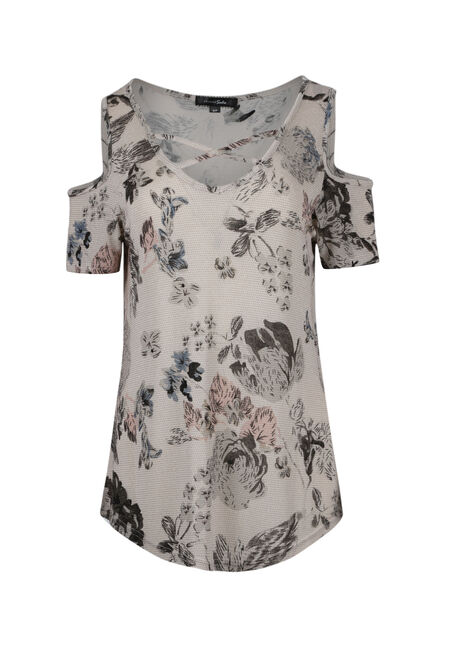 Ladies' Floral Shimmer Cold Shoulder Top