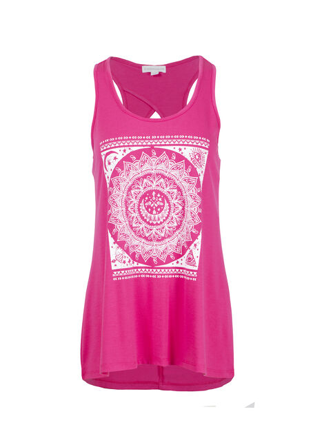 Women's Scroll Flower Keyhole Tank
