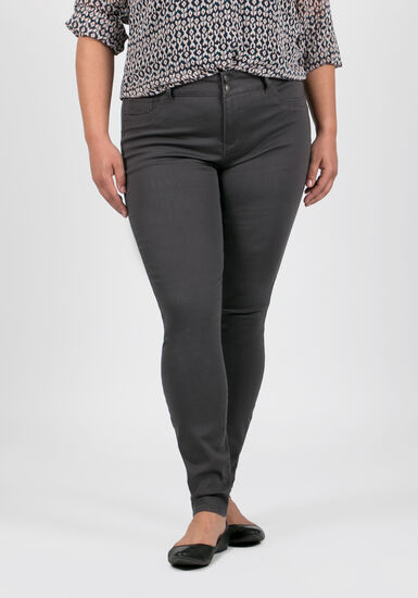Women's Plus Size Skinny Pants, GREY, hi-res