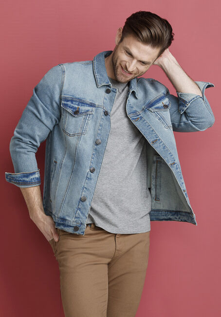 Men's Light Wash Jean Jacket, LIGHT WASH DENIM, hi-res