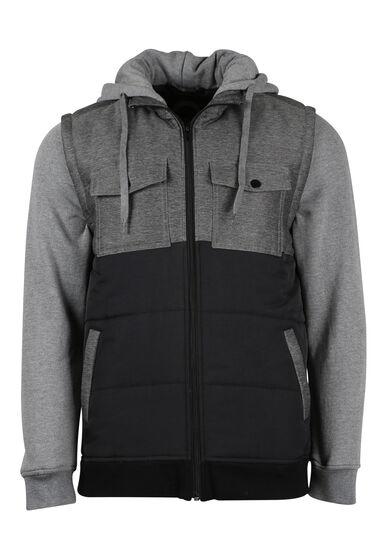 Men's Fleece Sleeve Vest, CHARCOAL, hi-res