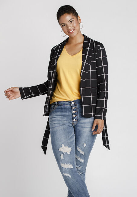 Women's Plaid Blazer, BLACK, hi-res