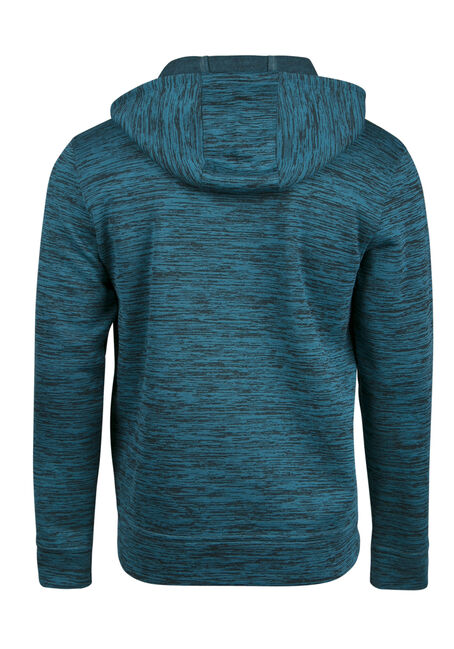 Men's Colour Block Stripe Hoodie, TEAL, hi-res
