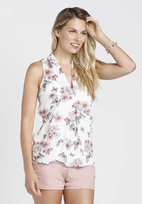 Ladies' Butterfly Tank, WHITE, hi-res